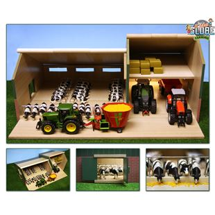 Wooden Cattle Shed With Machinery Shed