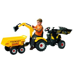 Power Loader Tractor with Front Loader, Backhoe and Trailer