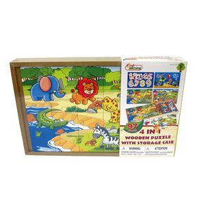 4 in 1 Wood Puzzle With Storage Case