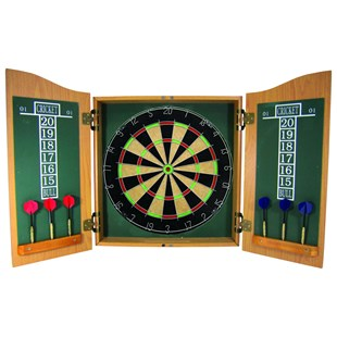 Bristle Dartboard in Wooden Cabinet