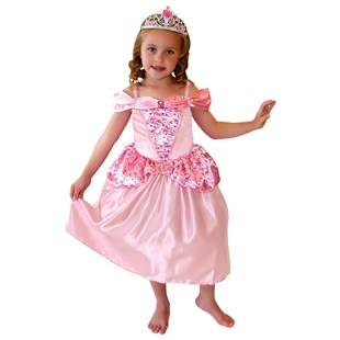 Crystal Rose Princess Costume with Tiara Medium