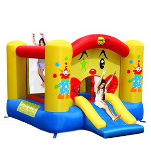 Clown Bouncy Castle with Slide and Basketball Hoop