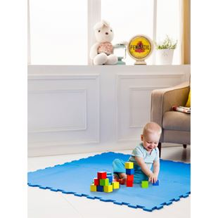 4 Piece Colour Foam Mat - Blue