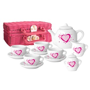 Pink and White Sweet Heart Porcelain Tea Set
