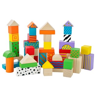 50 Piece Colourful Wooden Blocks Tub
