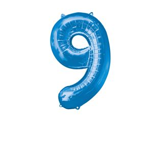Super Shape Number 9 Blue Foil Balloon