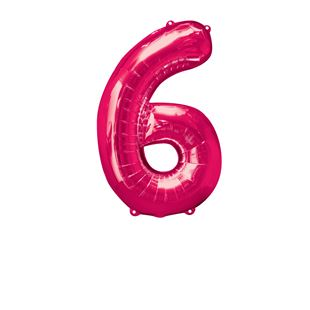 Super Shape Number 6 Pink Foil Balloon