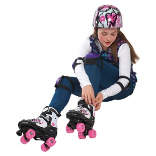 Lets Go Adjustable Quad Skate Pink/White Size 4-7