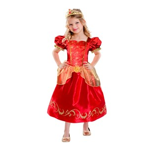 Red Princess Dress Costume with Tiara Medium