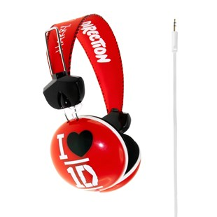 One Direction Heart Headphones Red
