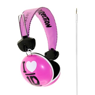 One Direction Heart Headphones Pink