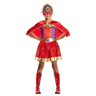 Superhero Dress Costume with Cape Medium