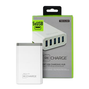 Techlink 5 Way Quick Tablet/Phone Charger 8.4amp