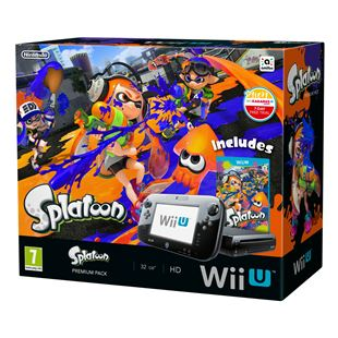 Wii U Console 32GB Black Premium Splatoon Pack