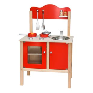 Wooden Red Kitchen with Accessories