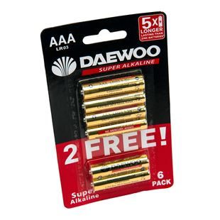 Daewoo AAA Alkaline 6 Pack Batteries