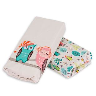 toTs by smarTrike Joy Sateen Fitted Owl Sheets - 2 Pack