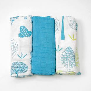 toTs by smarTrike Bamboo Swaddle Wraps 3 Pack - Blue