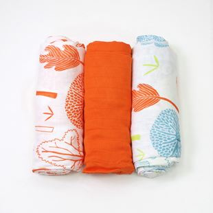 toTs by smarTrike Bamboo Swaddle Wraps 3 Pack - Orange