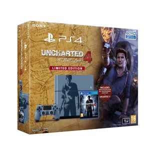 PS4 1TB Grey Blue Uncharted 4 Console Bundle