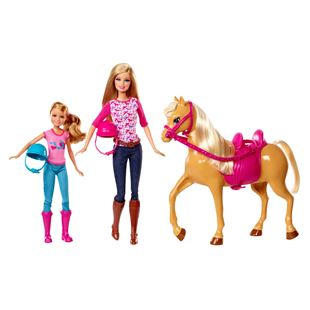 Barbie Sister Moments Riding Lesson Dolls and Horse