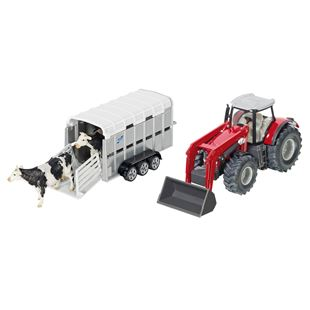 Siku 1:50 Massey Ferguson Tractor and Ifor Williams Trailer