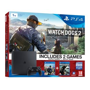 PlayStation 4 1TB Slim Watch Dogs 2 + Watch Dogs Bundle