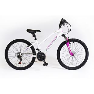 24 Inch Muddyfox Ice white and Cerise Prevail Hardtail Bike