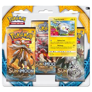 Sun & Moon Three-Booster Pack Pokémon Trading Cards- Assortment