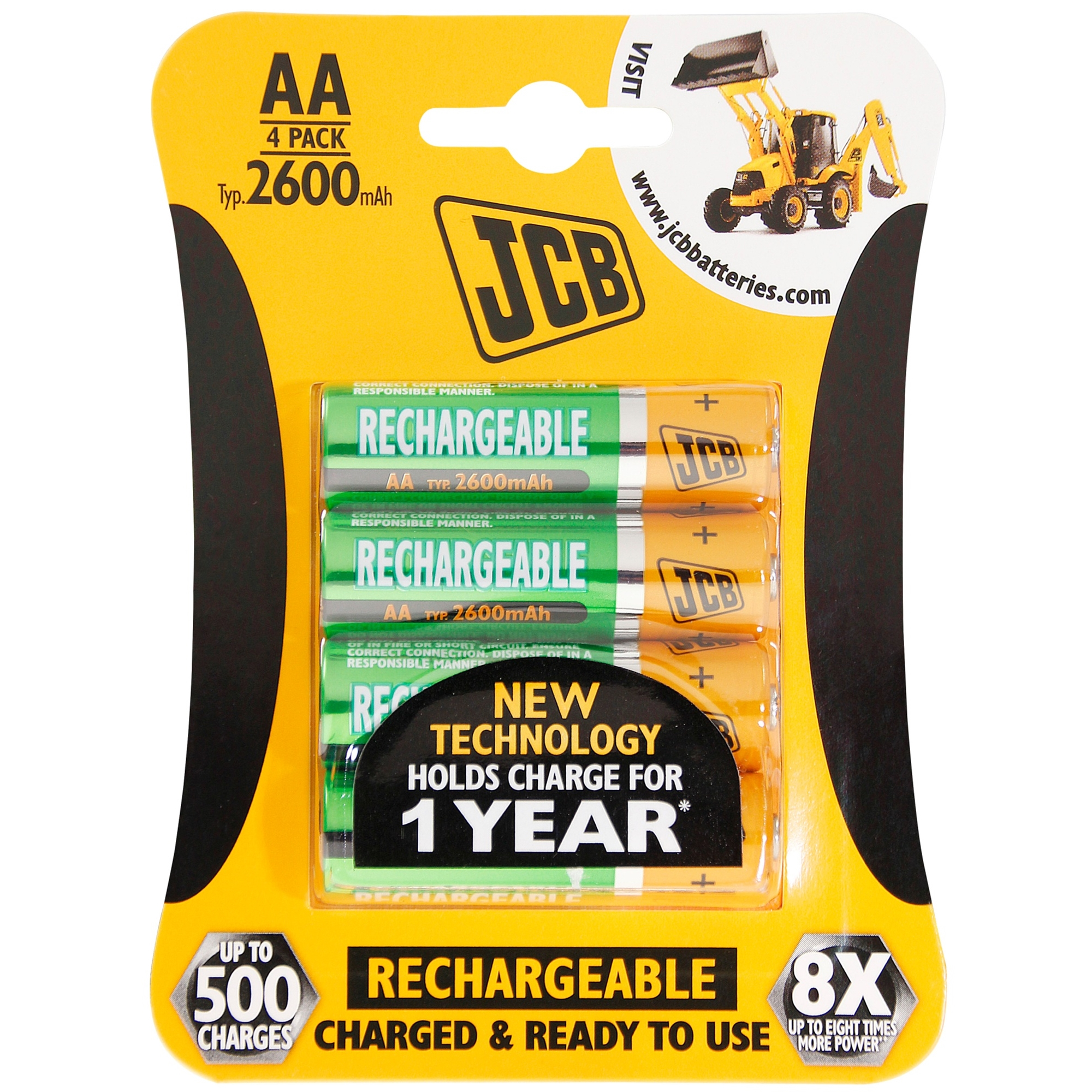 JCB AA Rechargeable Battery 4PK 2400